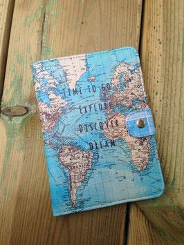 Paspoorthouder met wereldkaart
