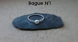 Bagues en Argent 925 et une perle d'eau douce (Réf : BAP1)