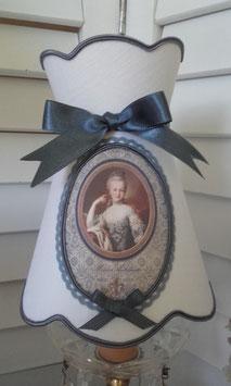 """Abat-jour à collerette, en lin blanc & portrait """"Marie-Antoinette""""  (Ref Ajcoll2)"""