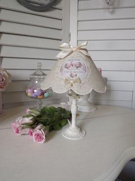 """Abat-jour festonné en lin semi-naturel - médaillon """"Romance Roses de Provence"""" (Ref ATF2Bis)"""