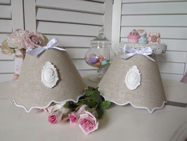 Abat-jour double accolade en lin naturel & camée blanc avec cadre (Ref ATDA5)