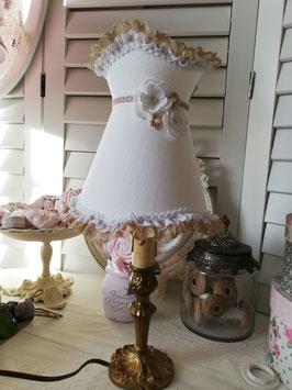 Abat-jour à collerette en lin blanc et fleurs au crochet ***REALISATION SUR COMMANDE***AJLFR8