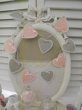 """Guirlande lumineuse  - dix ampoules - """"décors coeurs""""  rose et gris perle (G2)"""