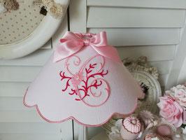Abat-jour à festons en lin rose poudré - Monogramme personnalisable - AJTrose