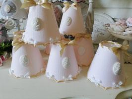 RESERVE : neuf abat-jour double accolade en lin rose poudré, bordures beige doré et camée blanc