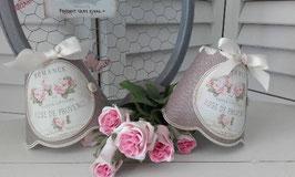 """Abat-jour festonné en lin taupe - médaillon """"Romance Roses de Provence"""" (Ref AL8)"""