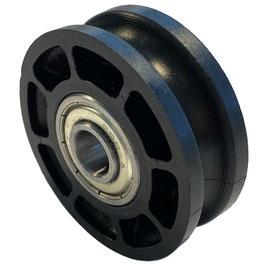 Umlenkrolle, Durchmesser Ø 52 mm, für Seile bis zu Ø 4 mm mit doppeltem Kugellager mit Distanzring