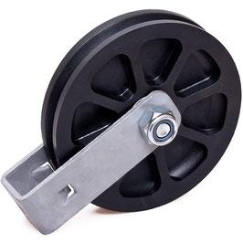 Umlenkrolle Ø 100 mm für Seile bis Ø 3 mm, mit doppeltem Kugellager und Haltebügel, verschraubt
