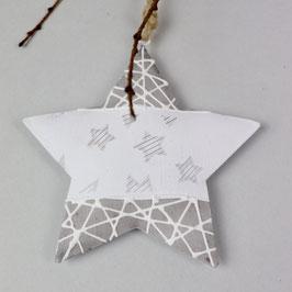 Weihnachsstern zum Aufhängen, mit kleinen aufgedruckten Sternchen, weiß/grau