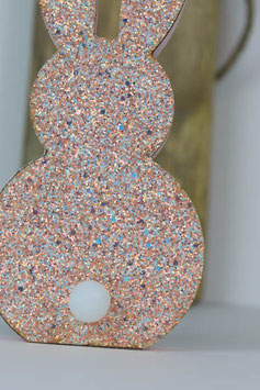 Glitter Hase, pink mit LED Beleuchtung