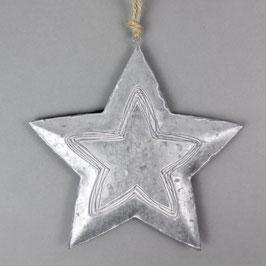 Weihnachtsstern hängend Metall, silber 23 cm
