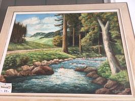 Ölbild Landschaft mit Fluss, signiert