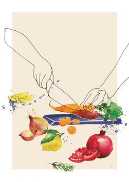 """Serie """"zu Tisch"""" schneidende Hände"""
