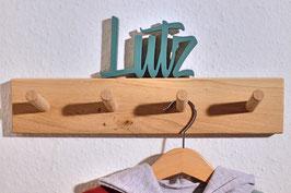 Hakenleiste aus Eiche mit lackiertem Schriftzug [OPTIONEN]