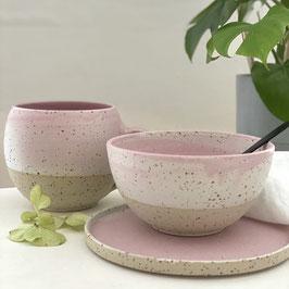 Spots Porridge Schale rosa/weiß