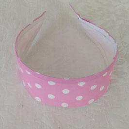 Haarreif Tupfen  Weiss-Pink