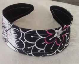 Haarreif Blume Schwarz-Pink