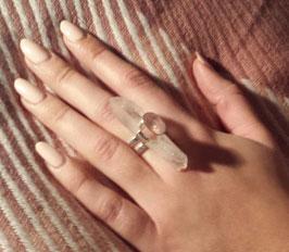 Bergkristall-Rosenquarz-Ring Nr. 11