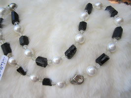 Turmalin-Kette (schwarz) + Perle + Bergkristall
