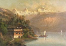 Unbekannt, «Chalet vor Eiger, Mönch, Jungfrau»