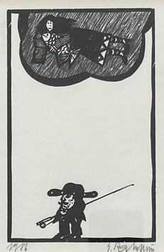 Ramseier Ernst, «Frau mit Fisch auf Wolke», (leider verkauft)