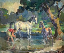 Bandi Hans, «Komposition Pferdewäsche»