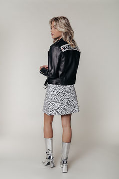 ALANNA PATCH BIKER JACKET BLACK