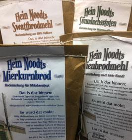 Vier Backmischungen für Brote aus Hein Noodts Mühlenbetrieb