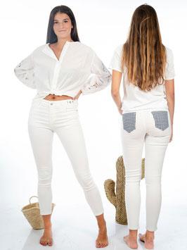 Jeans White + Bolsillo Vichy
