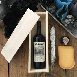 Houten wijnkist voor één fles wijn naar keuze!