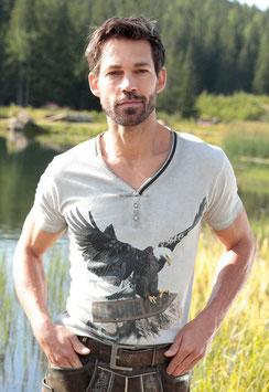Marjo - Herren Trachten T-Shirt, Adlershirt - stein