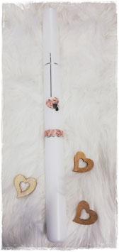 Taufkerze - Kreuz mit Herzen - rosa - silber