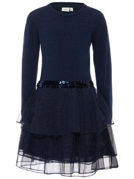 Kleid - Strickkleid Tüll - blau - NAME IT MINI MÄDCHEN