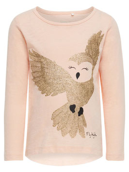 Shirt - Glitzer Shirt Eule evening sand  - NAME IT MINI MÄDCHEN