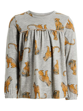 Shirt - Leoparden Long Shirt grau - NAME IT MINI MÄDCHEN