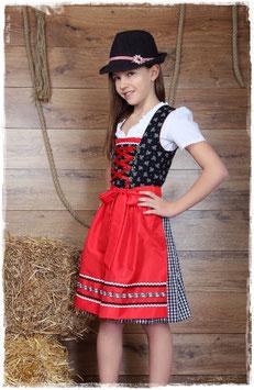 Teenie Dirndl - schwarz/rot mit Blumen - Tracht Mädchen