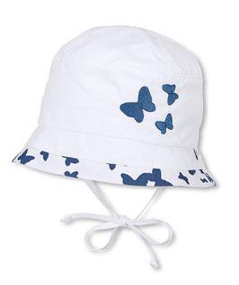 Kopfbedeckung - Hut weiß mit blauen Schmetterlingen - UV - Schutz - Sterntaler