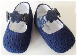 Schuhe - Babyschuhe - Taufschuhe blau mit Blumen - TAUFE