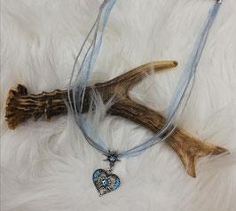 Trachtenkette mit hellblauen Band - Tracht Damen