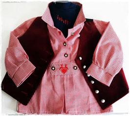 Tracht - Hemd - Babypfoadl in rot kariert - Babytracht - Kindertracht für Buben