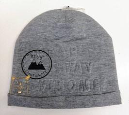 Kopfbedeckung - graue Mütze  - lets to somehere - Prägetext - NAME IT