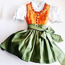 Babydirndl orange Anika - Tracht Mädchen