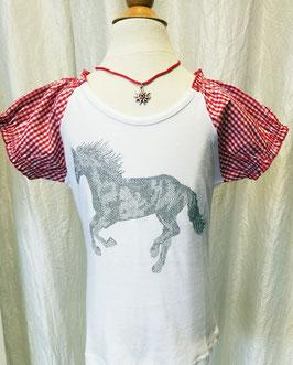 Tracht - Shirt  - Pferdemotiv - Glitzerpferd - weiß/rot - Tracht Mädchen
