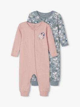 Schlafanzug - 2 er Pack - Aktion - Reissverschluss - Blumen - NAME IT