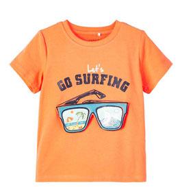 Shirt - Let´s Go Surfing - aufklappbare Sonnenbrille - orange - NAME IT MINI JUNGEN