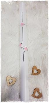 Taufkerze - Kreuz mit ALPHA - OMEGA silber - rosa