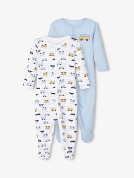 Nachtwäsche - Schlafanzug - 2er-Pack Druckknopf Schlafanzug mit Auto´s - NAME IT BABY JUNGEN
