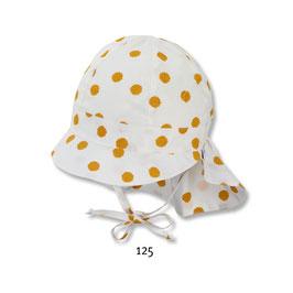 Kopfbedeckung - Schirmmütze mit Nackenschutz - weiß - gelbe Punkte - UV Schutz - Sterntaler