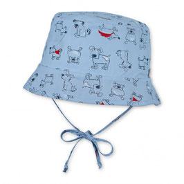 Kopfbedeckung - Sommer - Wende - Hut  weiß/hellblau mit Tiermotiven - Uv Schutz 50 + - Sterntaler