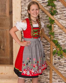 Teenie Dirndl - rot/schwarz mit Blumenschürze - Tracht Mädchen